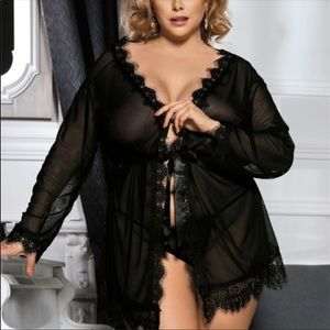 Other - Plus Size Sheer Black & Lace Robe + G-String Set